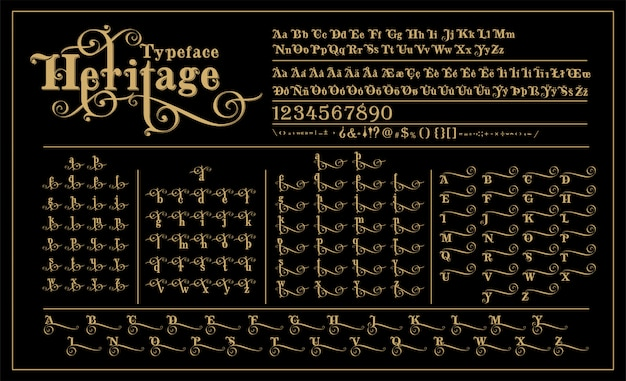 Heritage calligraphic alphabet wit alternative letters design Premium Vector