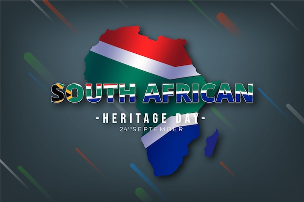 Heritage day south africa with map and flag Free Vector