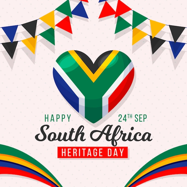 Heritage day with flags and heart Free Vector