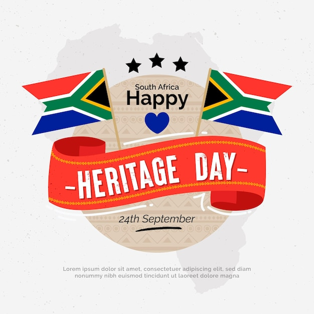Heritage day with flags Free Vector