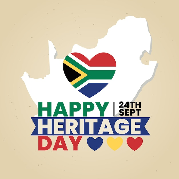 Heritage day with heart and map Free Vector