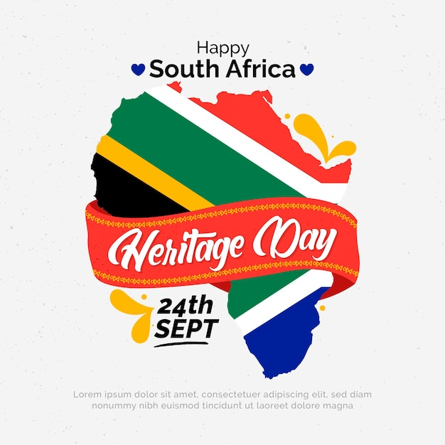 Heritage day with map Free Vector