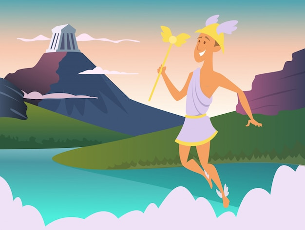 Hermes. greek god of trade illustration Premium Vector
