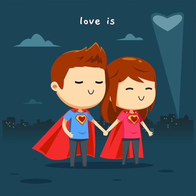 The hero couple in the night Premium Vector