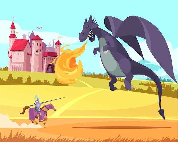 Герой рыцарь риддер борется с яростным огромным свирепым драконом перед средневековым королевством замка мультфильма Бесплатные векторы
