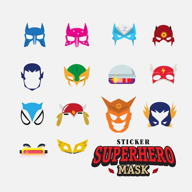Hero mask. face character. Premium Vector