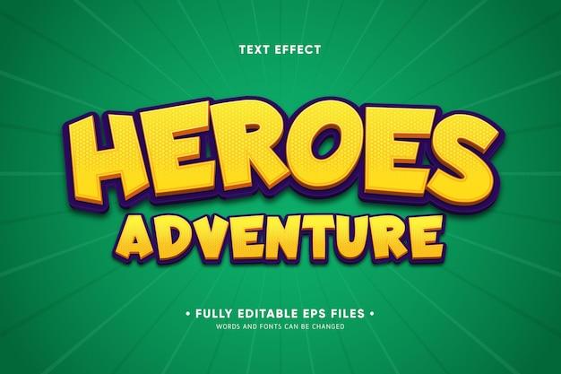 Текстовый эффект героев приключений Бесплатные векторы