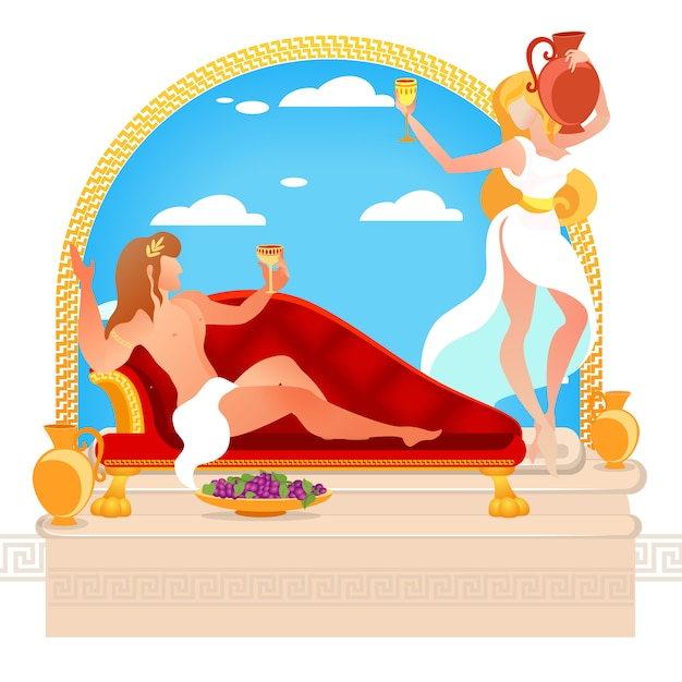 Heroes of greek myths dionysus and ariadne gods Premium Vector