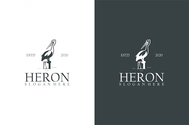 Концепция логотипа heron Premium векторы