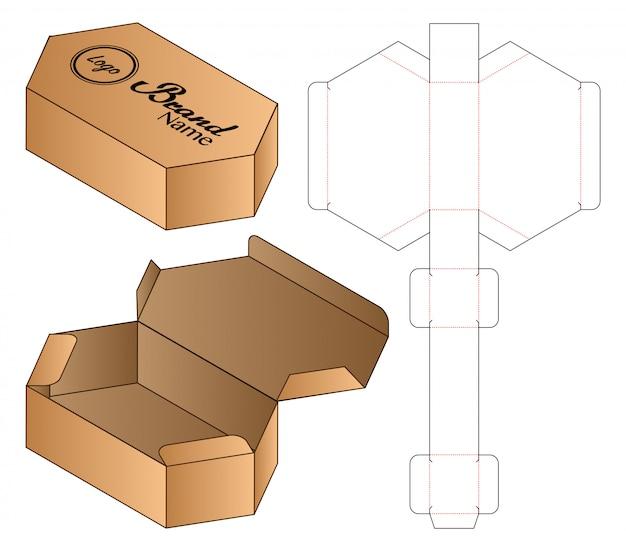 Hexagon box packaging die cut template design. Premium Vector