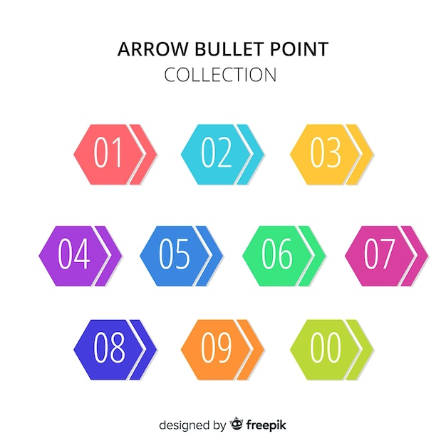 Hexagon bullet point collection Free Vector