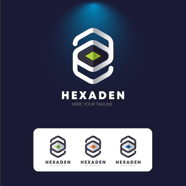 Hexagon e letter logo Premium Vector