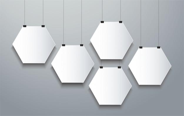 Hexagon frame  background Premium Vector