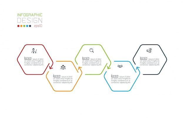 Шестиугольник inforgraphics по векторной графике Premium векторы