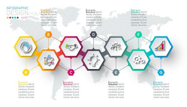 Hexagon inforgraphics on vector graphic art. Premium Vector
