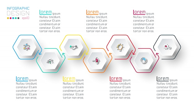 Hexagon inforgraphics on vector graphic art. Premium Vector