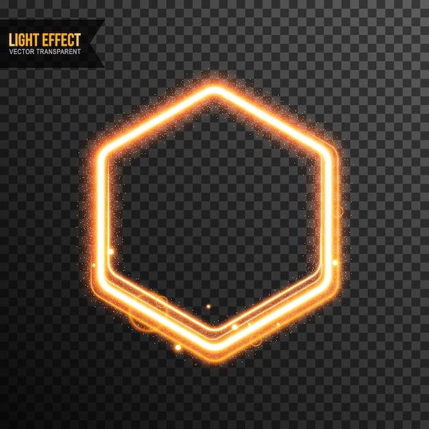 hexagon light effect vector transparent with golden glitter vector