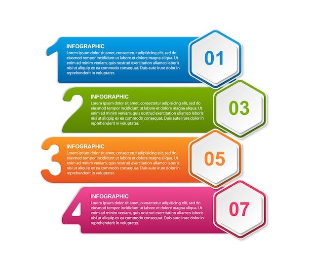 六角形オプションのインフォグラフィックテンプレート Premiumベクター