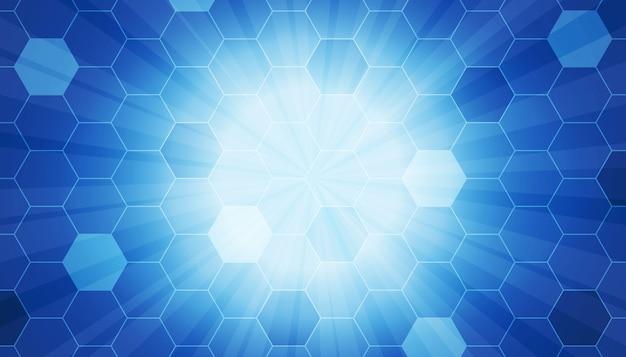 Modello esagonale con sfondo del fascio di raggi Vettore gratuito