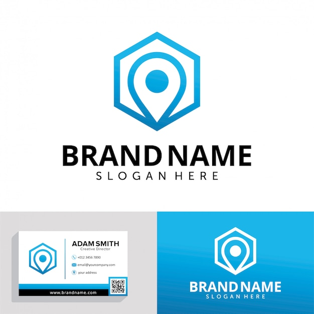 Hexagon pin logo design template Premium Vector