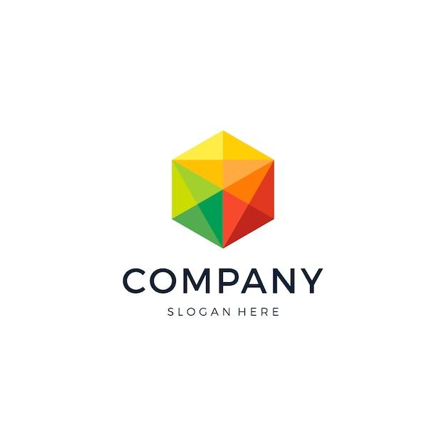Hexagon pixel logo design Premium Vector