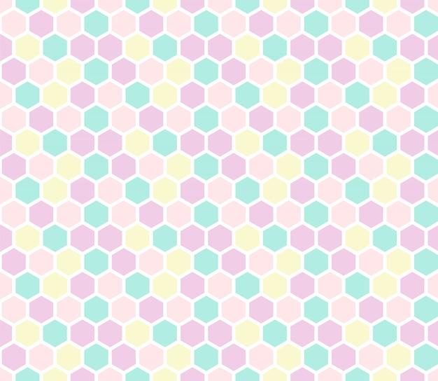 六角形のパステルカラーのシームレスなパターン。 Premiumベクター