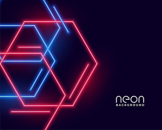 Hexagon shape neon lights in blue and red colors Free Vector