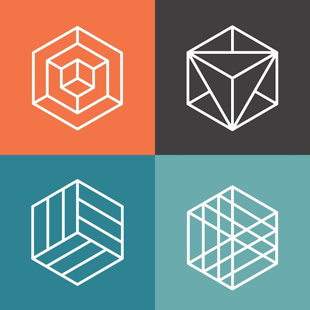 Hexagon vector logos in outline linear style. logo hexagon, abstract hexagon,  geometric logo hexagon illustration Free Vector