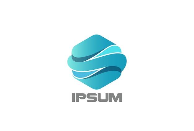 Icona di logo di onde esagonali. Vettore gratuito