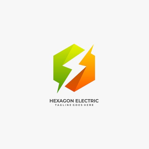 Hexagon with electric bolt logo. Premium Vector