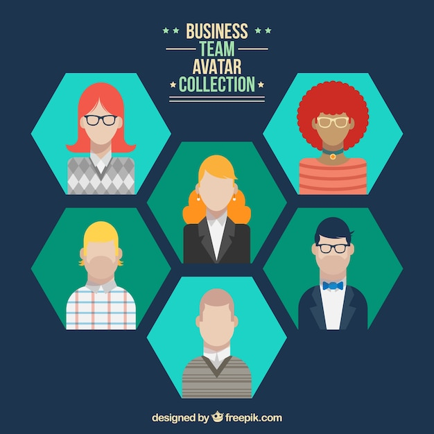 Download Vector - Business team avatar collection in flat