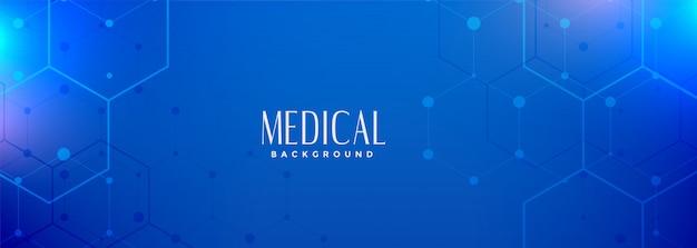 Hexagonal blue medical science banner digital Free Vector