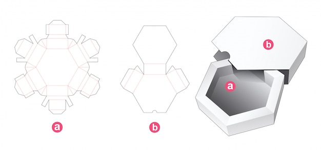Hexagonal box with cover die cut template Premium Vector