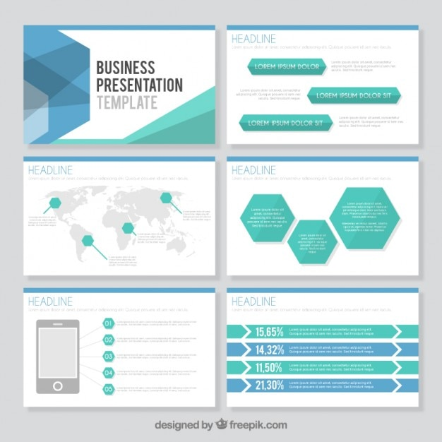hexagonal business presentation template vector premium