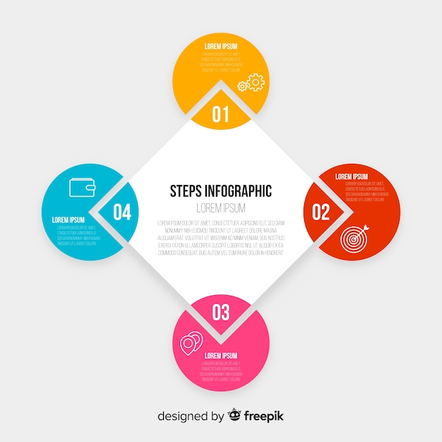 Hexagonal chart with steps collection Free Vector