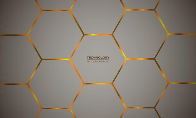 Гексагональной красочные вектор абстрактный фон. оранжевые яркие вспышки под текстурой сетки шестиугольника. Premium векторы