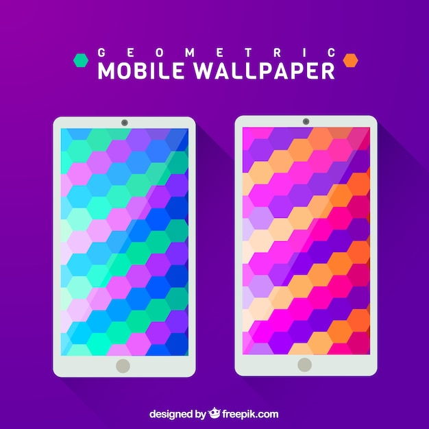 Hexagonal colorful wallpaper for mobile