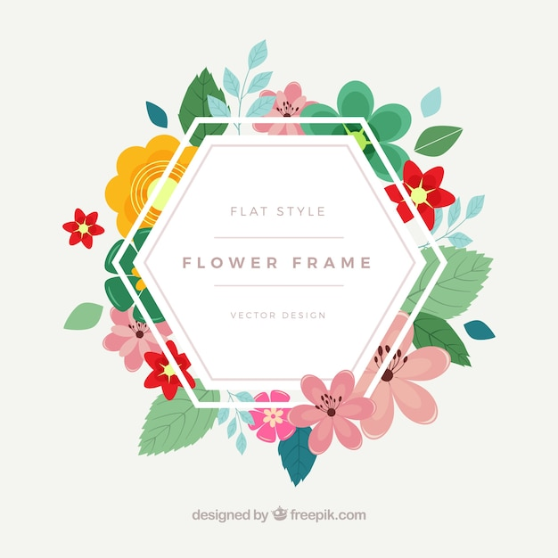 Hexagonal floral frame Vector | Free Download