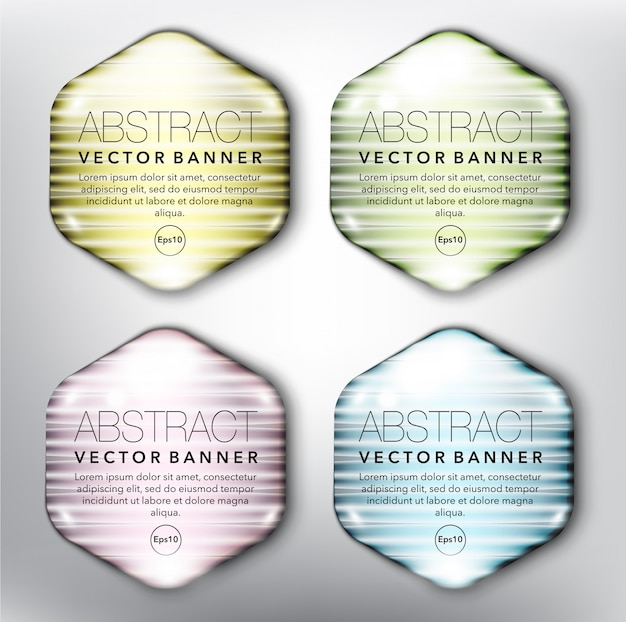 Hexagonal glass web banners set. isolated on white surface. Premium Vector