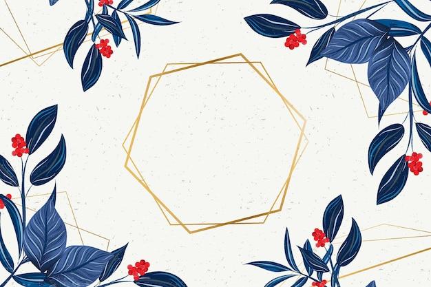 Hexagonal golden frame with winter flowers Free Vector
