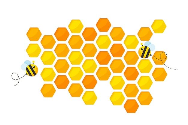 六角形の黄金色のハニカムパターンの紙は、蜂と甘い蜂蜜を中に入れて背景をカットしました。 Premiumベクター