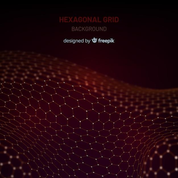Hexagonal grid background Free Vector