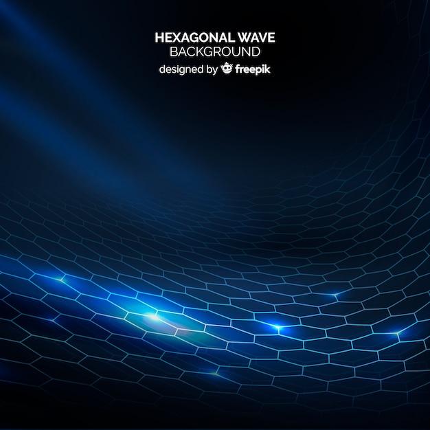 Hexagonal grid wave background Free Vector