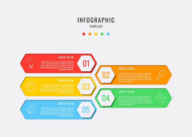 Hexagonal infographic elements with five steps, options, parts or processes with text boxes and marketing line icons. data visualization for workflow, diagram, annual report, web design. eps10 Premium Vector