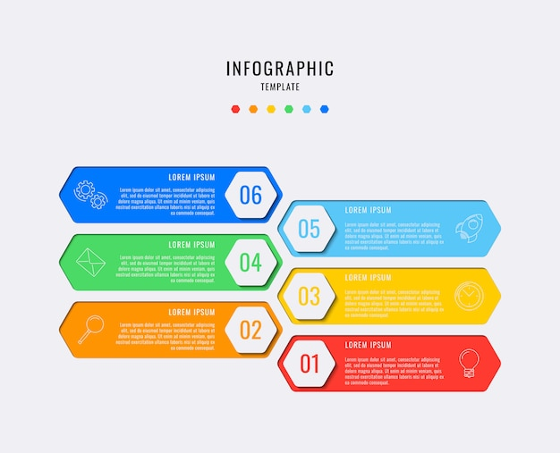 Hexagonal infographic elements with six steps, options, parts or processes with text boxes Premium Vector