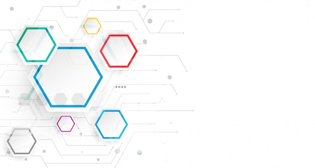 Hexagonal infographic white background template Free Vector