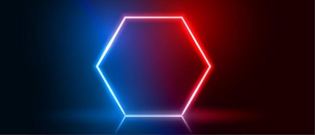 파란색과 빨간색의 육각형 네온 프레임 무료 벡터