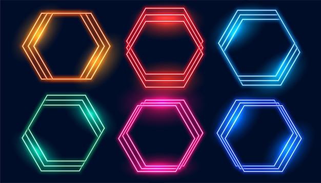 Шестиугольные неоновые рамки из шести цветов Бесплатные векторы