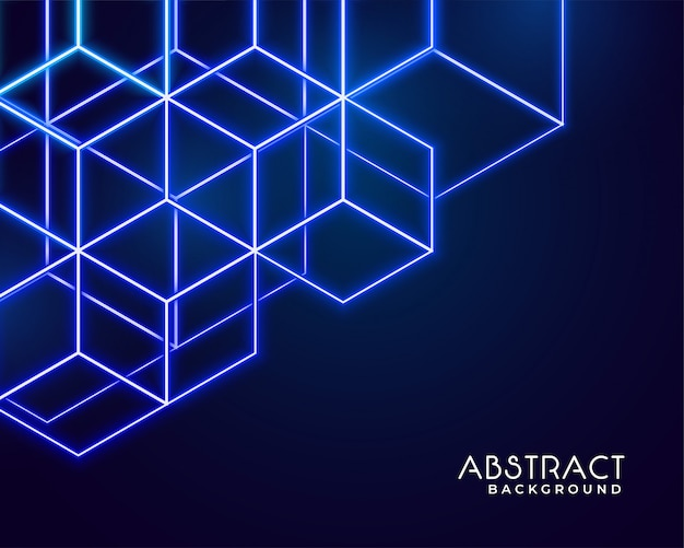 Hexagonal neon shapes abstract technology Free Vector