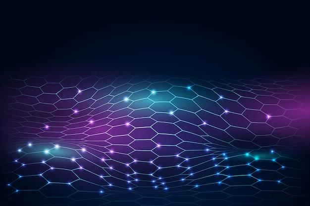Hexagonal net background futuristic design Free Vector